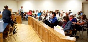 Alamo residents gathered for a public comment hearing with the Nevada Department of Environmental Protection, regarding a request for a modification to a Class I permit to Western Elite Landfill. The public comment period ends June 18. (Dave Maxwell photo)
