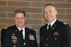 Major Gen. Mark Yenter, a 1981 graduate of the University, flew from his post in South Korea to deliver special remarks to the 12 senior cadets from the University who were recently commissioned as Second Lieutenants into the U.S. Army. The group included Micah Lee Gill, pictured at right. (Courtesy photo)