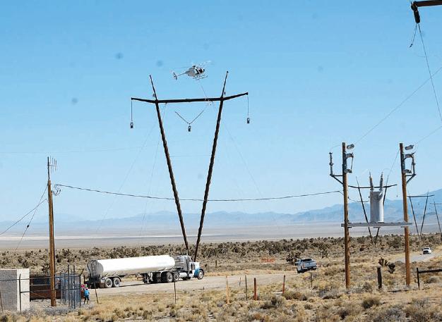 Power line crosses U.S. 93