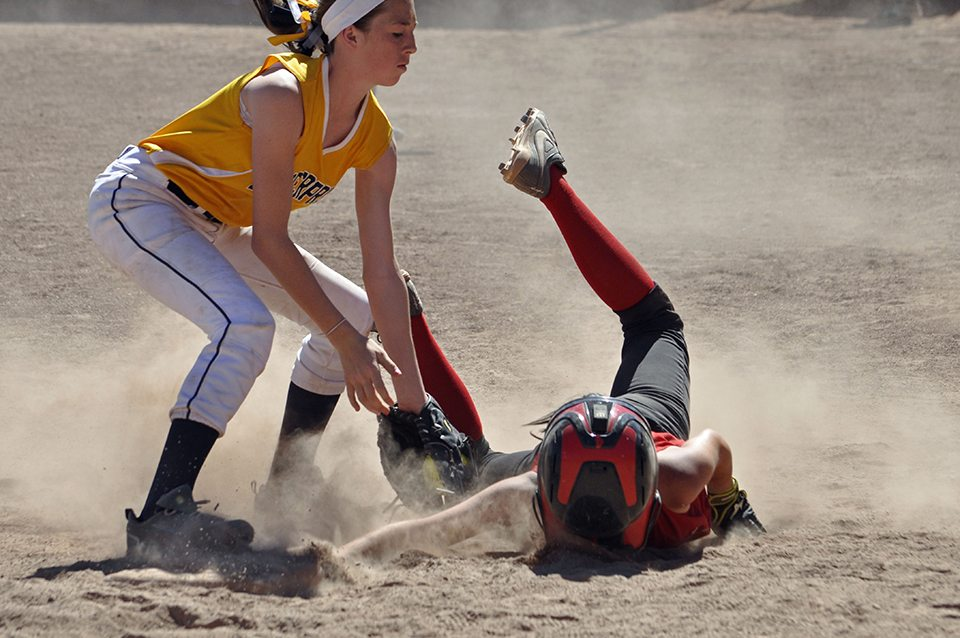 Junior girls softball teams compete