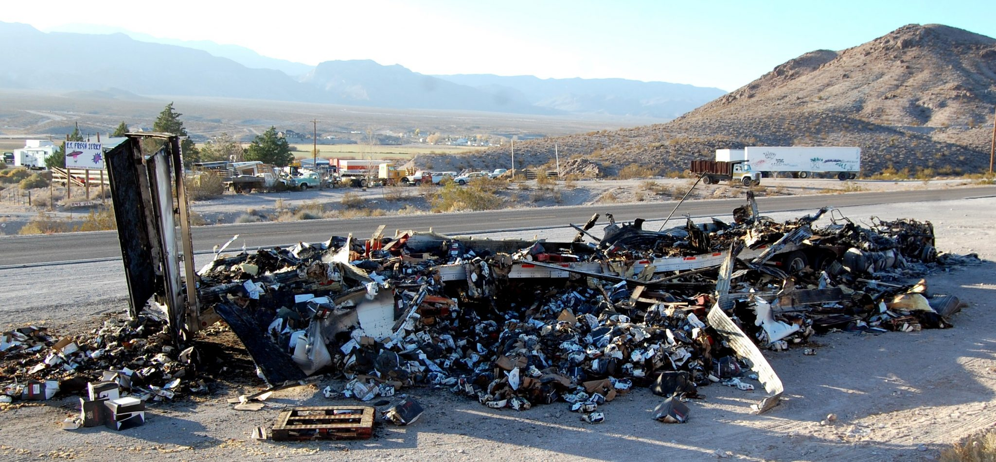 Semi truck destroyed in blaze
