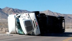 A big rig tractor-trailer hauling potatoes crashed just north of Hiko on Highway 318 on Feb. 5. The unnamed driver was not injured, but was arrested and