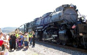 "Union Pacific Railroad steam locomotive No. 4014, ""Big Boy,"" one of the world's largest, visited in Caliente May 1, as it was traveling"