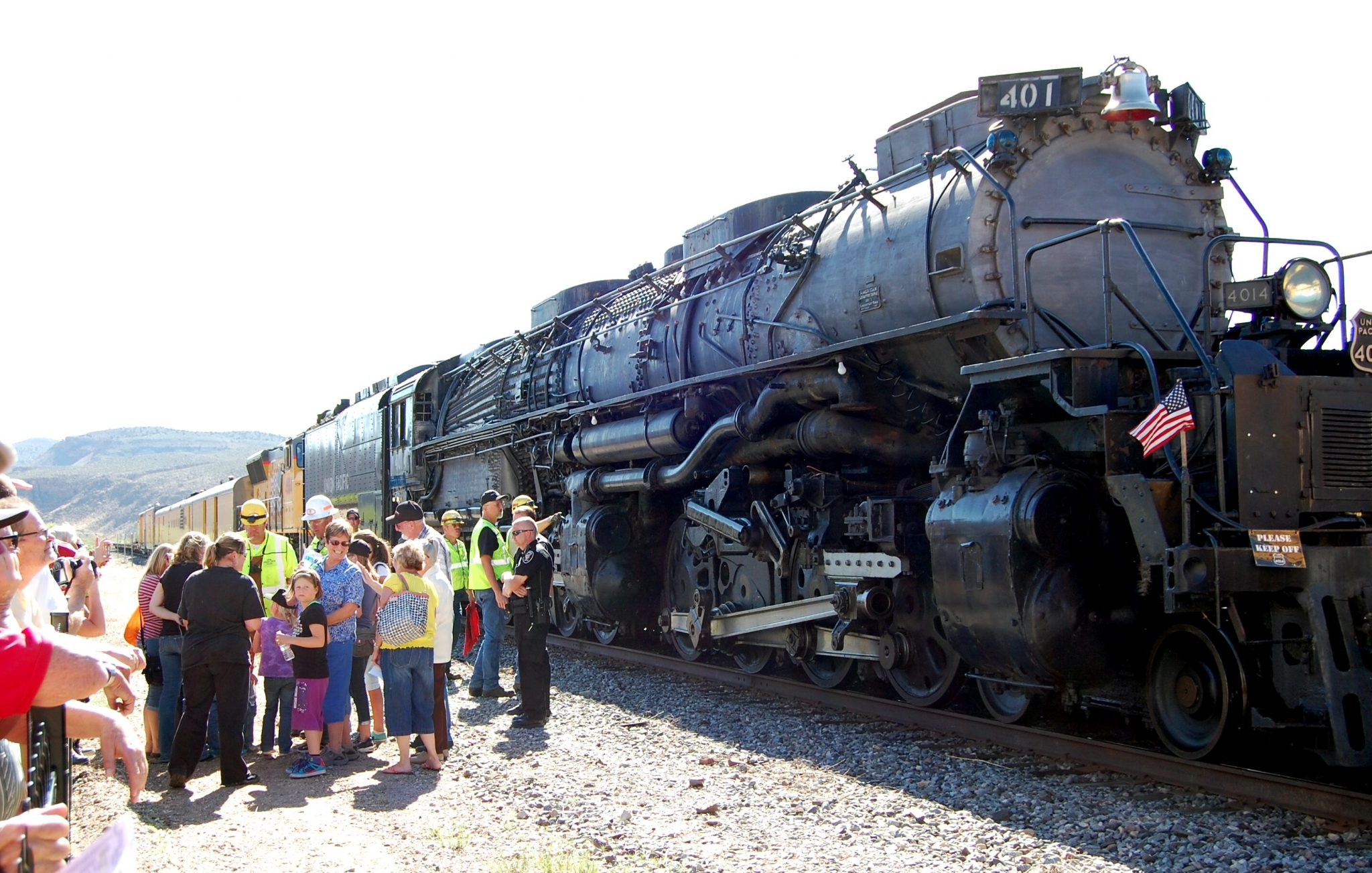 Historic steam locomotive stops in Caliente Depot for quick visit