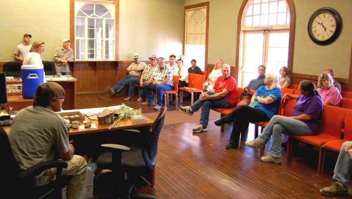 About 30 people were on hand at City Hall in Caliente June 25 for a meeting with local Bureau of Land Management personnel talking about issues