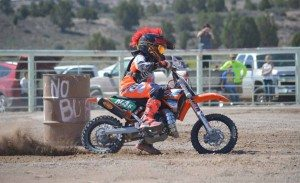 Sarah Somers The Pioche Rodeo Grounds came alive for the first time in a long time, as a large crowd watched kids and adults compete in a dirt bike/ATV barrel race on Saturday during the 110th annual Labor Day celebration in Pioche.