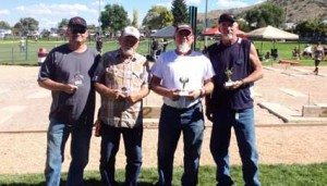 Courtesy photo Horseshoes were one of many contests and tournaments held over the weekend. Pictured are Doubles Division A winners. From left: Jimmy Myers, Dennis McBride, Marshal Anders and Gary Shifflett.