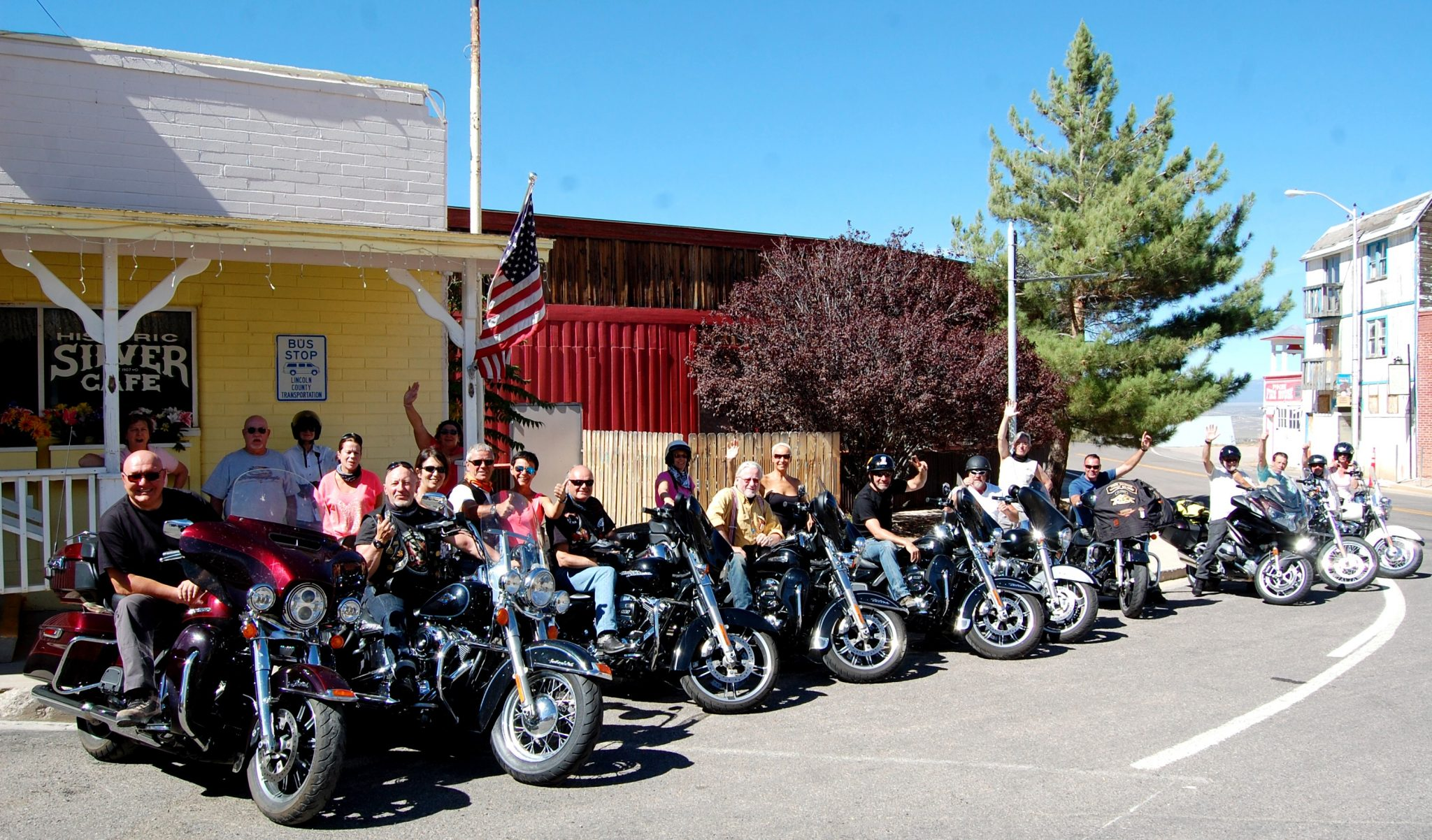 Belgian motorcycle tourists visit Pioche on 16-day tour