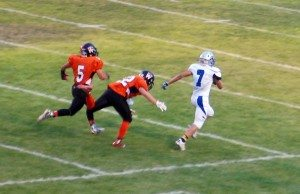 Dave Maxwell Shawn Wadsworth of Pahranagat Valley takes a long pass in for a touchdown in a recent game. Wadsworth leads the state with 620 yards on 24 catches. Pahranagat Valley has an important matchup this Friday with visiting Spring Mountain.