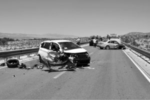 Courtesy photo -  An accident involving two cars and a tractor trailer caused heavy delays on U.S. 93.  Aug. 11.