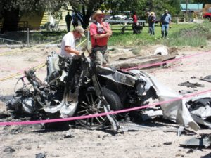 Rose Lanigan photos The remains of a car that Glenn Franklin Jones rented sits in a charred pile last Thursday after the bombing one day earlier.